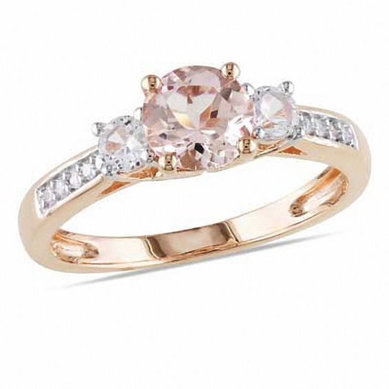 6 0mm Morganite, Lab-Created White Sapphire and Diamond Accent Engagement  Ring in 10K Rose Gold|Zales Outlet