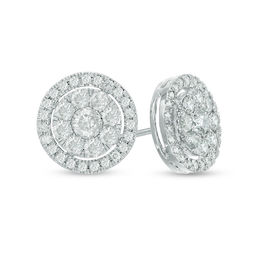 1 CT. T.W. Diamond Cluster Frame Stud Earrings in 10K White Gold