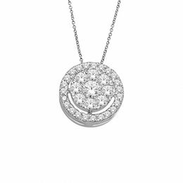 1/2 CT. T.W. Diamond Cluster Frame Pendant in 10K White Gold