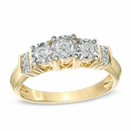 tw diamond three stone collar engagement ring in 10k gold - Clearance Wedding Rings