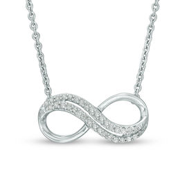 1/10 CT. T.W. Diamond Sideways Infinity Necklace in Sterling Silver