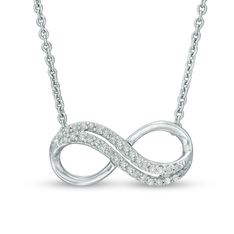 Zales Enhanced Black Diamond Accent Sideways Heart-Shaped Infinity with Mom Necklace in Sterling Silver knMYtKTl