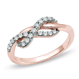1/4 CT. T.W. Diamond Infinity Ring in 10K Rose Gold