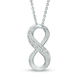 1/10 CT. T.W. Diamond Infinity Three Row Pendant in Sterling Silver
