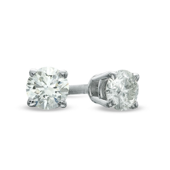 Zales 1/5 CT. T.w. Diamond Solitaire Stud Earrings in 14K White Gold K1947H