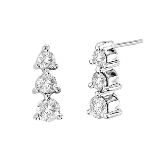 T W Diamond Linear Three Stone Drop Earrings In 14k White Gold