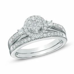 1/2 CT. T.W. Diamond Cluster Bridal Set in 10K White Gold