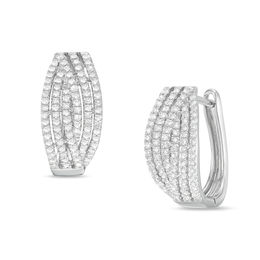 1/3 CT. T.W. Diamond Hoop Earrings in 10K White Gold