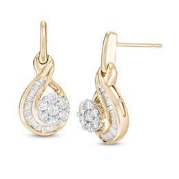 3/4 CT. T.W. Composite Diamond Flame Drop Earrings in 10K Gold