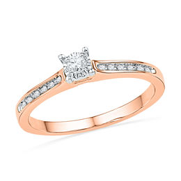 1/10 CT. T.W. Diamond Promise Ring in 10K Rose Gold