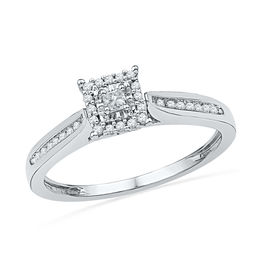 1/5 CT. T.W. Princess-Cut Diamond Square Frame Promise Ring in 10K White Gold