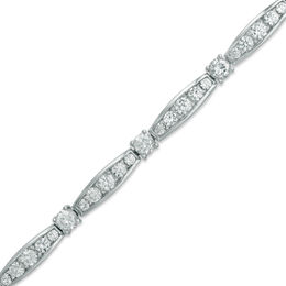 Lab-Created White Sapphire Bracelet in Sterling Silver - 7.25""