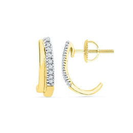 1/10 CT. T.W. Diamond J-Hoop Earrings in 10K Gold