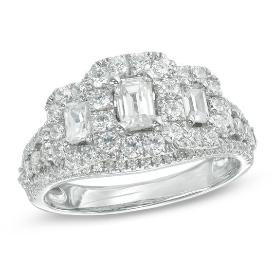 bb8e03aa1e53ce 1-1/2 CT. T.W. Certified Emerald-Cut Diamond Past Present Future® Ring in 14K  White Gold (I/I1)