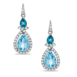 Pear-Shaped Blue Topaz and Lab-Created White Sapphire Drop Earrings in Sterling Silver