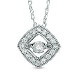 Unstoppable Love™ 1/2 CT. T.W. Diamond Tilted Square Pendant in 14K White Gold