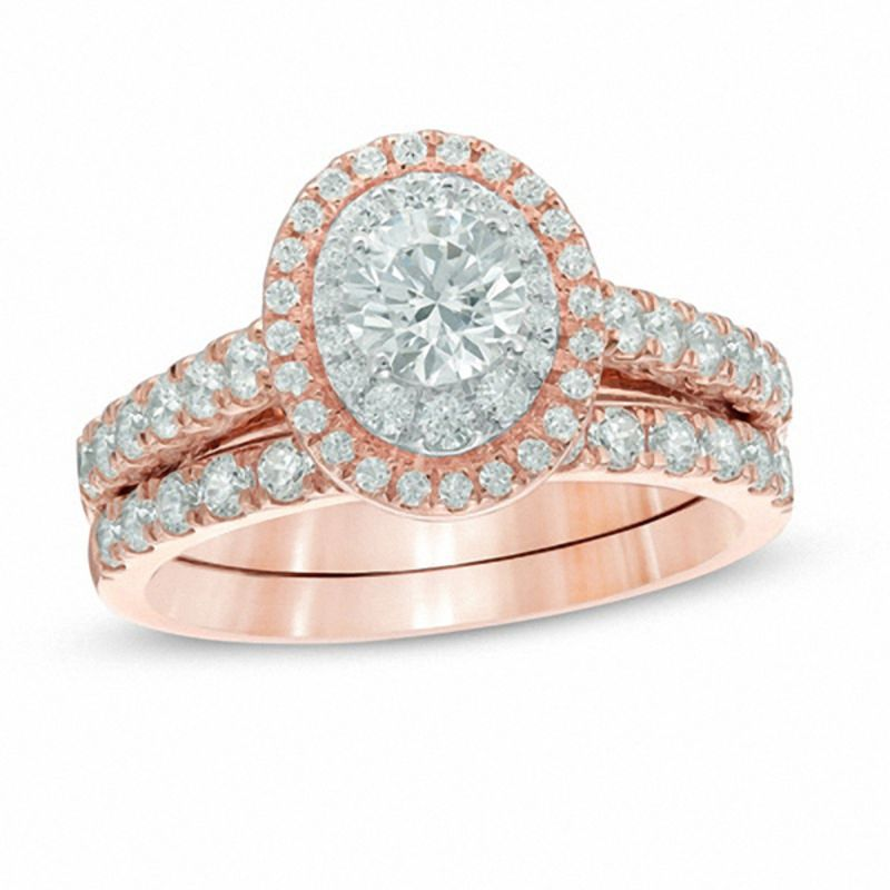 tw diamond double frame bridal set in 14k rose - Rose Gold Wedding Ring
