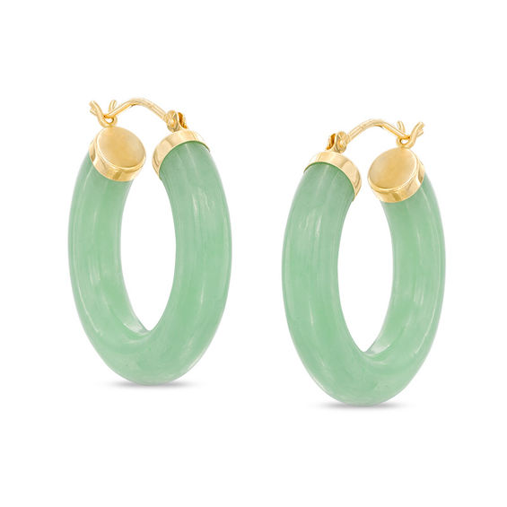 Dyed Green Jade Hoop Earrings In 14k Gold
