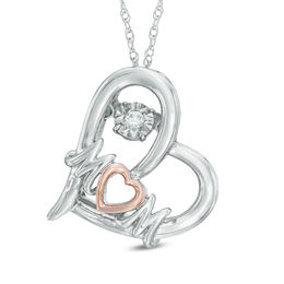 "Unstoppable Love™ Diamond Accent ""MOM"" Tilted Heart Pendant in Two-Tone Sterling Silver"