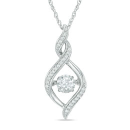 Unstoppable Love™ 5.5mm Lab-Created White Sapphire Twist Pendant in Sterling Silver