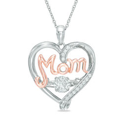 "Unstoppable Love™ 5.0mm Lab-Created  White Sapphire ""MOM"" Heart Pendant in Sterling Silver and 14K Rose Gold Plate"