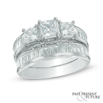 e77830a3251af 2-1/4 CT. T.W. Princess-Cut Diamond Past Present Future® Bridal Set in 14K  White Gold|Zales Outlet