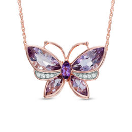 Rose de France Amethyst and Lab-Created White Sapphire Butterfly Pendant in Sterling Silver with 14K Rose Gold Plate