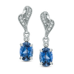 Oval Lab-Created Blue and White Sapphire Drop Earrings in Sterling Silver