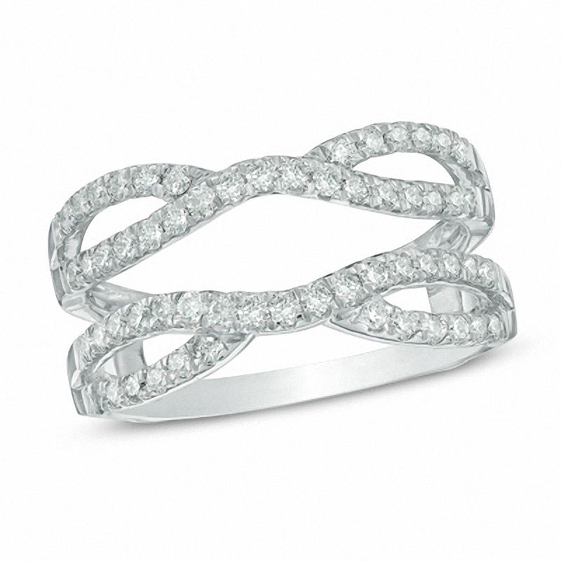 tw diamond double row solitaire enhancer in 14k white gold - Wedding Ring Enhancers