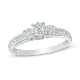 1/3 CT. T.W. Composite Diamond Three Stone Engagement Ring in 10K White Gold