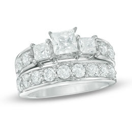 2-3/4 CT. T.W. Princess-Cut Diamond Past Present Future® Bridal Set in 14K White Gold