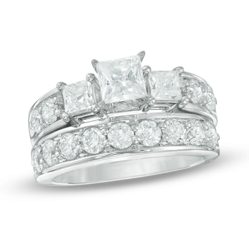 850e7872f4435 2-3/4 CT. T.W. Princess-Cut Diamond Past Present Future® Bridal Set in 14K  White Gold|Zales Outlet