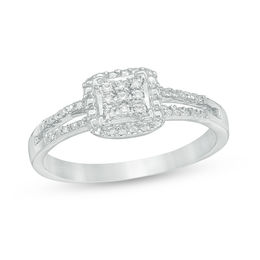 Composite Diamond Accent Square Promise Ring in 10K White Gold