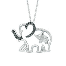 1/20 CT. T.W. Enhanced Black and White Diamond Elephant Motherly Love Pendant in Sterling Silver