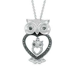 1/20 CT. T.W. Enhanced Black and White Diamond Owl Motherly Love Pendant in Sterling Silver