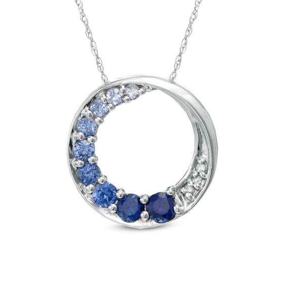 Lab created blue sapphire journey circle pendant with diamond lab created blue sapphire journey circle pendant with diamond accents mozeypictures Image collections