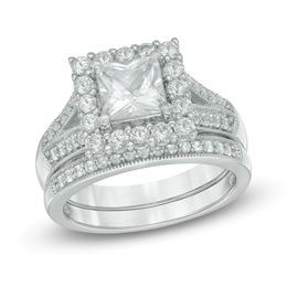 6.0mm Princess-Cut Lab-Created White Sapphire Frame Bridal Set in Sterling Silver - Size 7
