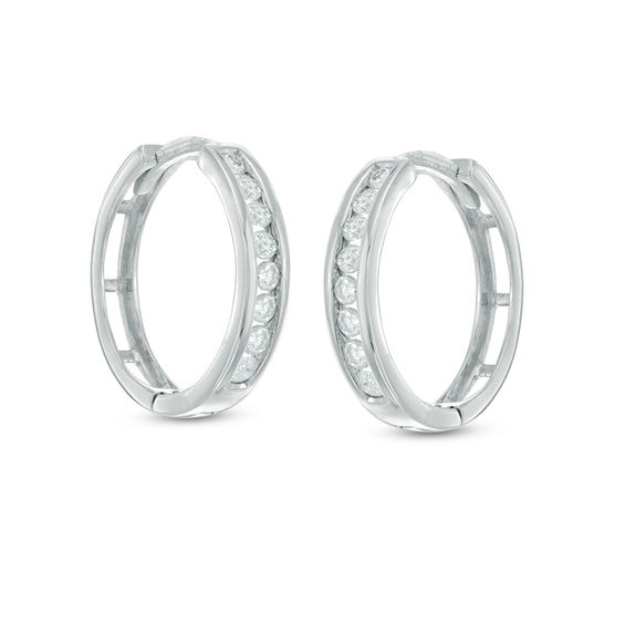 T W Diamond Huggie Hoop Earrings In 10k White Gold