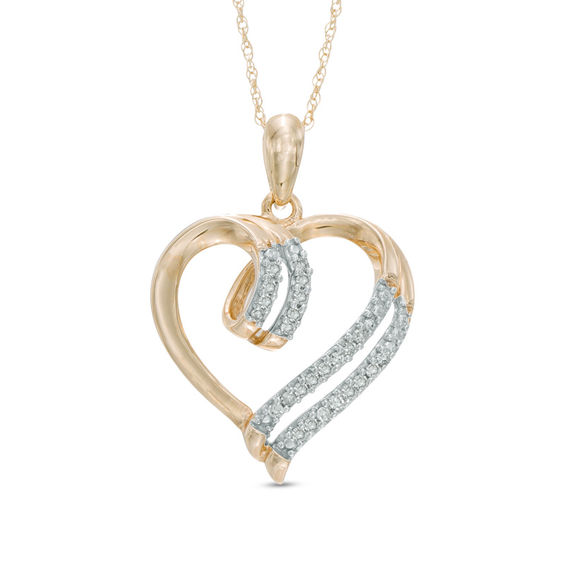 Zales Double Heart Pendant in 10K Gold