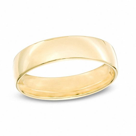 Mens 55mm Comfort Fit Wedding Band in 14K Gold Size 10