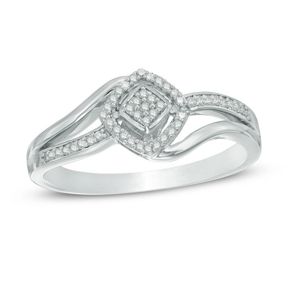 Zales 1/10 CT. T.w. Diamond Cluster Heart Ring in Sterling Silver - Size 7 KdWkR
