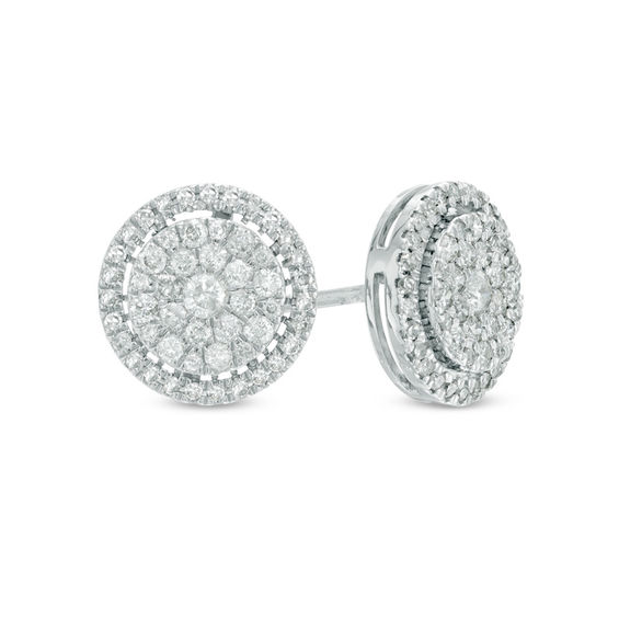 1 2 Ct T W Composite Diamond Frame Stud Earrings In 10k White Gold