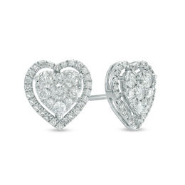 1/2 CT. T.W. Diamond Heart Cluster Stud Earrings in 10K White Gold