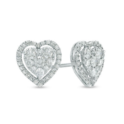 2abb2a4d9 1/2 CT. T.W. Diamond Heart Cluster Stud Earrings in 10K White Gold ...