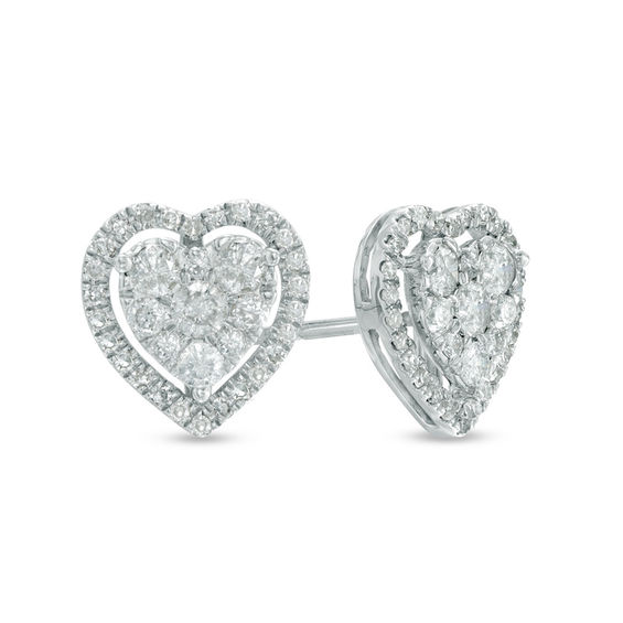 T W Diamond Heart Cer Stud Earrings In 10k White Gold