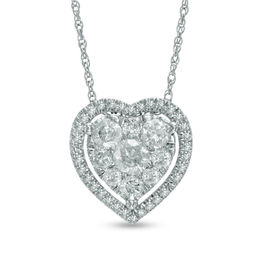 1/2 CT. T.W. Diamond Heart Cluster Frame Pendant in 10K White Gold
