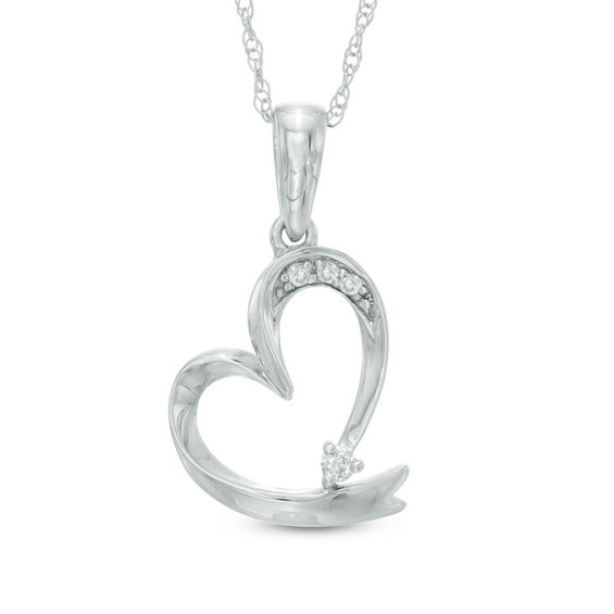 Zales Diamond Accent Ribbon Pendant in 10K White Gold