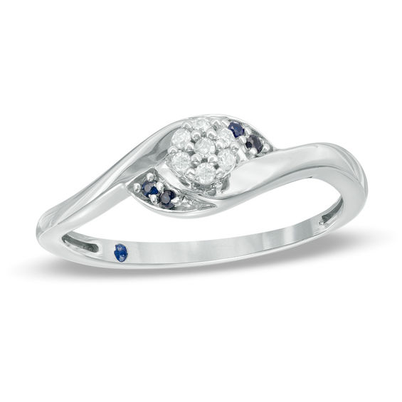 labcreated white sterling silver princess ring princesscut accent v sapphire rings promise created in and lab diamond p cut