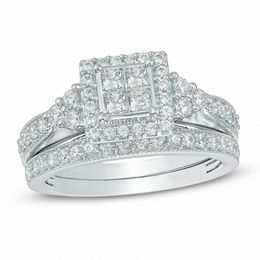 1 CT. T.W. Quad Princess-Cut Diamond Frame Tri-Sides Bridal Set in 10K White Gold