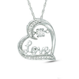 "Unstoppable Love™ 1/10 CT. T.W. Diamond Tilted Heart with ""Love"" Pendant in Sterling Silver"